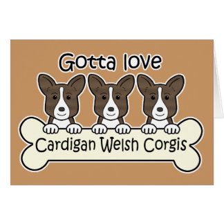 Three Cardigan Welsh Corgis Card