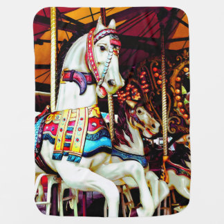 Three Carousel Horses Baby Blanket