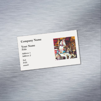 Three Carousel Horses Magnetic Business Card