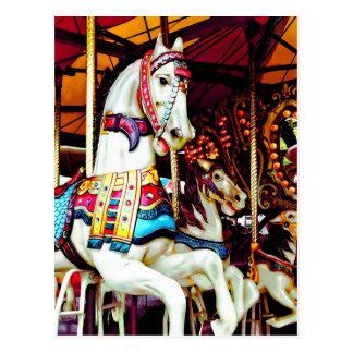 Three Carousel Horses Postcard