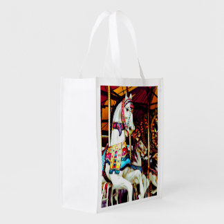 Three Carousel Horses Reusable Grocery Bag