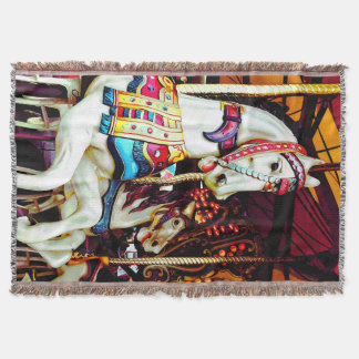 Three Carousel Horses Throw Blanket