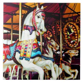Three Carousel Horses Tile