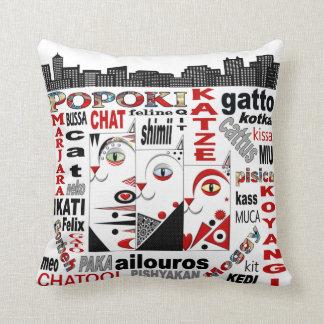 "Three Cats City Sky Line Pillow 12"" x 12"""