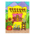 Three Cats in a Yellow Adobe House Postcard
