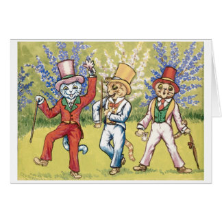 Three cats performing by Louis Wain Card