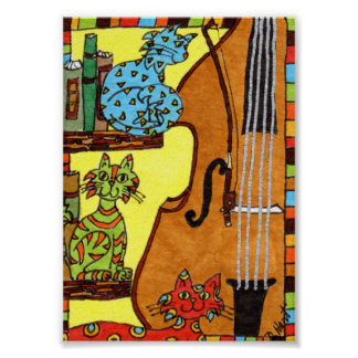 Three Cats with a Bass Fiddle Mini Folk Art Poster