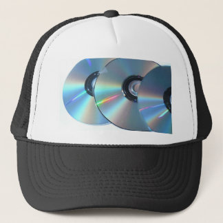 Three Cds On A Paper Trucker Hat