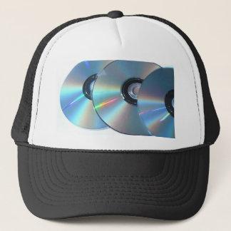 Three Cds On A Paper Trucker Hat