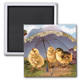 Three Charming Easter Chicks Square Magnet