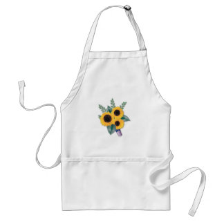Three Cheerful Sunflowers Floral Bouquet Standard Apron