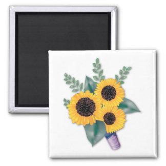 Three Cheerful Sunflowers Magnet