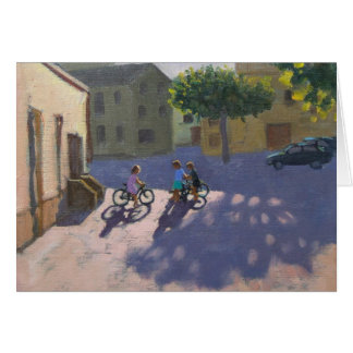 Three children with bicycles Spain Card
