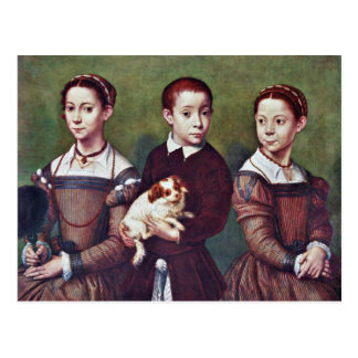 Three Children With Dog By Anguissola Sofonisba Postcard
