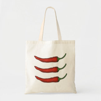 Three Chiles Hot Red Chili Pepper Peppers Tote Budget Tote Bag