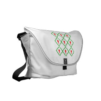 Three chili peppers white diamonds graphic courier bags