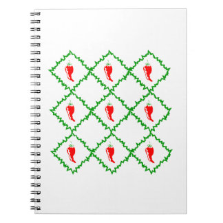 Three chili peppers white diamonds graphic spiral note book