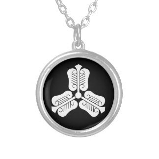 Three China round fan Silver Plated Necklace