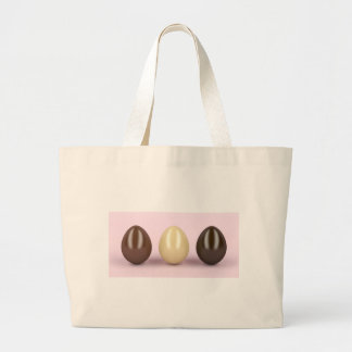 Three chocolates eggs large tote bag