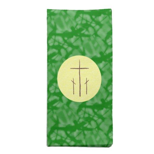 Three Christian Crosses Calvary Green Yellow Napkin
