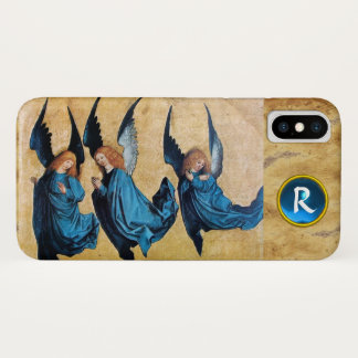 THREE CHRISTMAS ANGELS IN BLUE PARCHMENT MONOGRAM iPhone X CASE