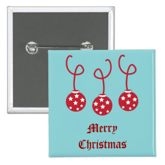 Three Christmas Baubles with stars 2 Inch Square Button