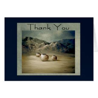 Three Clay Pots on Desert Floor Blank Thank You Card