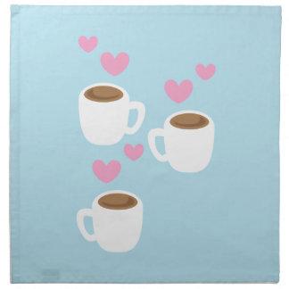 three coffees cloth napkin