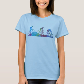 Three Color-Washed Mountain Bikers T-Shirt