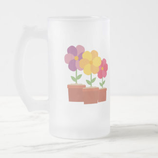 Three colorful Flowers Zo728 Frosted Glass Beer Mug
