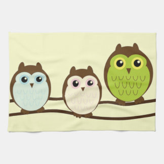Three Colorful Owls Kitchen Towel