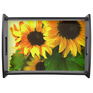 Three colorful yellow sunflowers serving tray