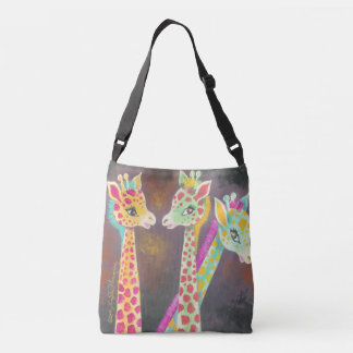 Three Colourful Fun Giraffes Crossbody Bag