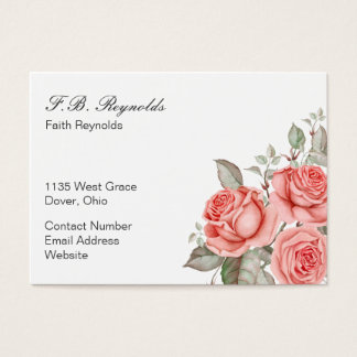 Three Coral Colored Roses Business Card