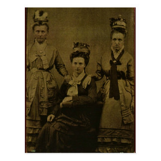Three Country Women circa 1870 Postcard