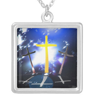 Three Crosses At Calvary Square Pendant Necklace