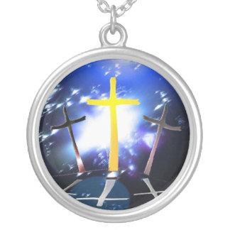 Three Crosses At Calvary Round Pendant Necklace