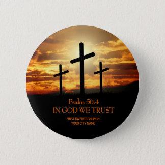 Three Crosses Christian Church Button