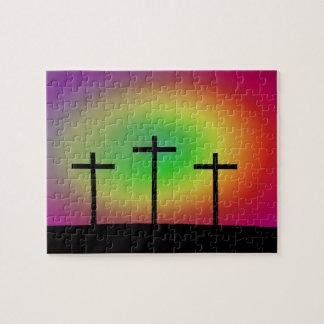 Three crosses glow jigsaw puzzle