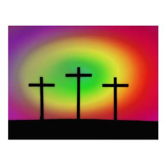 Three Crosses glow Postcard