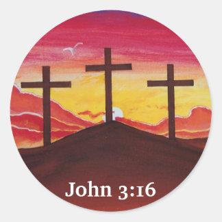 Three Crosses Jesus Christ salvation Christian Art Classic Round Sticker