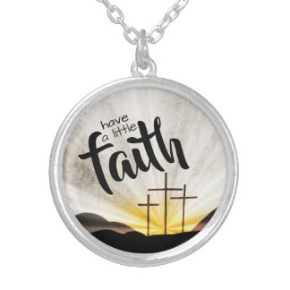 Three Crosses of Faith Silver Plated Necklace