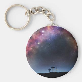 Three Crosses on a Hillside under the Milky Way Keychain