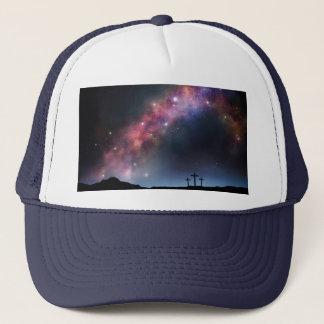 Three Crosses on a Hillside under the Milky Way Trucker Hat