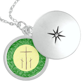 Three Crosses on Calvary Yellow Green Sterling Silver Necklace