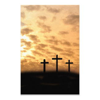 Three Crosses With a Sunset Easter Stationary Customized Stationery