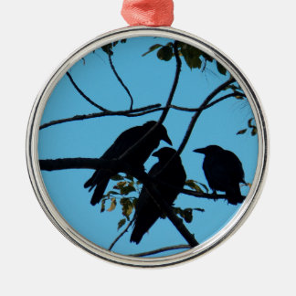 Three Crows In a Tree Silver-Colored Round Ornament