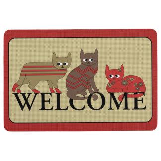 Three Cute Cats Welcome Mat Rug