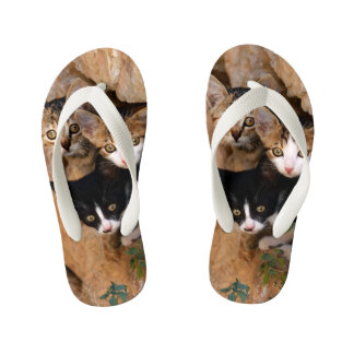 Three Cute Curious Cat Kittens Faces Funny Photo * Kid's Flip Flops