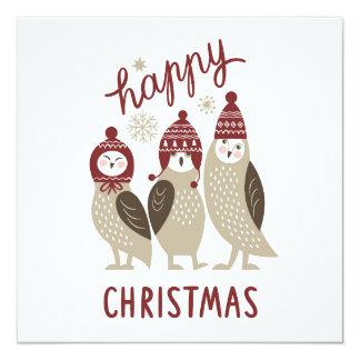 "Three Cute Owls 5.25"" Square Invitation Card"